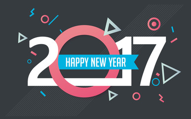 Happy New year 2017 greeting card background. Vector illustration.Wallpaper.New year eve.flyers, invitation, posters, brochure, banners, calendar