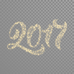 Gold glitter calligraphy lettering for New Year greeting card
