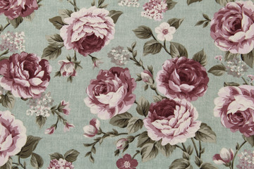 Stores photo Fleurs Vintage Colorful Cotton fabric in vintage rose pattern for background or