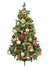 Decorated Christmas tree with colorful ornaments isolated on white background