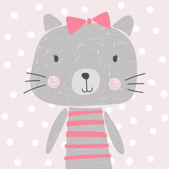 cute cartoon cat, kitten, bow, vector