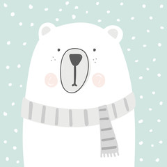 cute cartoon polar bear vector sketch