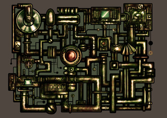 Steampunk decorative interface. Illustration fantasy composition in rusty style consist of pipes and industrial mechanism