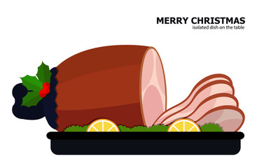 Illustration vector of Christmas leg ham on Christmas theme.