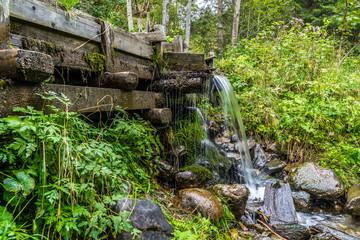 Wasserzufuhr mit Überlauf aus dem 19. Jahrhundert in einem Waldstück in den Alpen