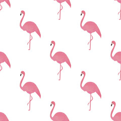 Flamingo isolated on white background. Hand-drawn vector illustration.