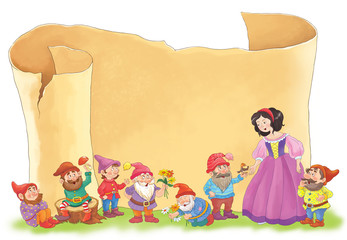 Old brown vintage paper and a fairy tale. The Snow White and seven dwarfs. Fotomurales