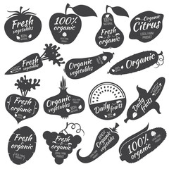Fruits and vegetables vector stickers, labels, logos