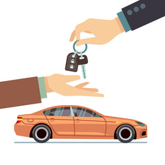 Car seller hand giving key to buyer. Buying or renting business vector concept
