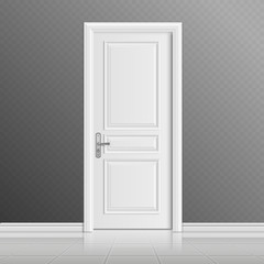 Closed white entrance door vector illustration