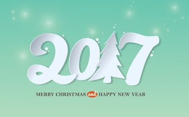 Merry christmas and Happy New year 2017 greeting card background with paper art style. Vector illustration.Wallpaper.flyers, invitation, posters, brochure, banners, calendar