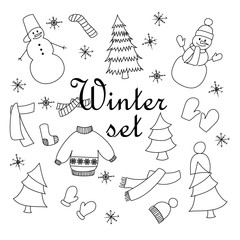 Hand drawn vector illustration set of isolated winter elements.