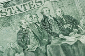 Signing declaration of independence from us two dollar bill macr