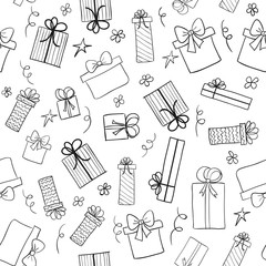 Christmas gift boxes. Seamless vector pattern