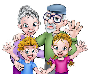 Cartoon Grandparents and Children