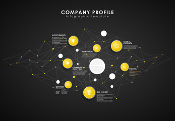 Company profile overview template with yellow circles and dots -