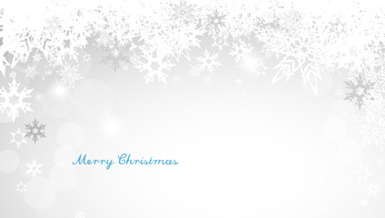 Christmas silver background with snowflakes and decent blue Merr
