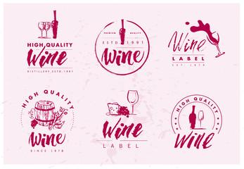 Vector flat wine brand mark logo