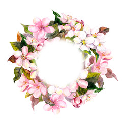 Floral round wreath with pink flowers - apple, cherry blossom for postcard. Watercolor