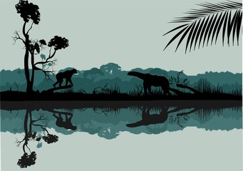 Wildlife silhouettes scene on the cost of river. Jungle and animals silhouettes reflected on water