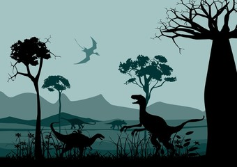 Wildlife silhouettes scene with dinisaurs. Prehistoric landscape silhouettes. Vector illustration.