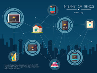 Internet Of Things Kitchen Background  Poster