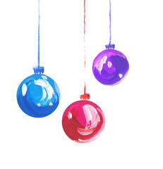 Acrylic hand painted christmas ornament on white background. Xmas bulbs set. Color hand drawn glass bubbles for christmas tree