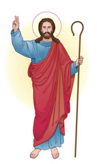 jesus christ with staff
