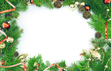 Frame from decorated Christmas tree isolated on white background