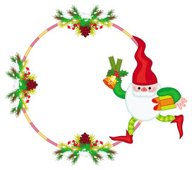Holiday frame with decorations and Christmas elf. Copy space. Christmas background. Vector clip art.