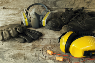 Standard construction safety equipment.safety first, health and safety.Personal Protection Equipment