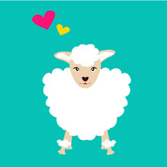 Sheep cartoon with heart shape illustration on blue background | funny and cute concept