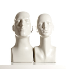 Male and Female Mannequin Heads on White