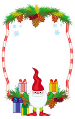 Holiday frame with decorations and Christmas elf. Copy space.