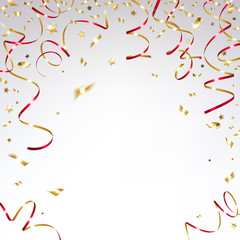 Gold Confetti and Festive red Ribbons