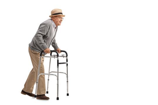 Senior walking with a walker