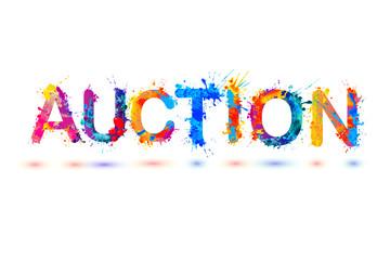 Auction. Splash pain sign