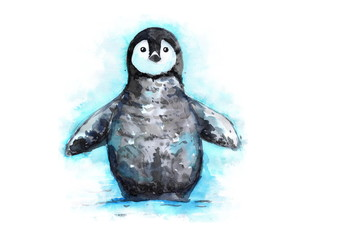 hand drawn penguin watercolor illustration. little penguin in the snow.