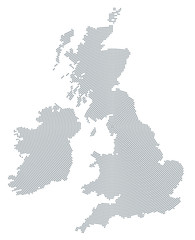 British Isles map radial dot pattern. Gray dots going from the center forming the silhouettes of Ireland and United Kingdom with the island Great Britain. Illustration on white background. Vector.