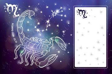 Scorpio zodiac sign.Horoscope circle.Space dark sky