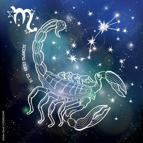 """Scorpio Zodiac Sign.Horoscope Circle.Space Dark Sky"