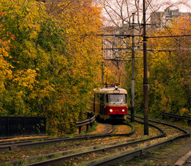 Tram on the background of autumn trees