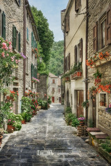 Spoed Foto op Canvas Smal steegje Narrow old street with flowers in Italy