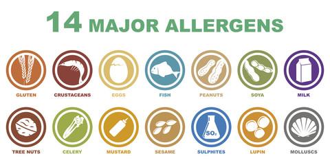 iconos de alergenos mas importantes Wall mural