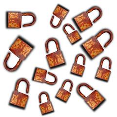 group of key lock isolated on white background
