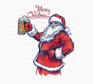 Jolly Santa Claus with a beer in hand.