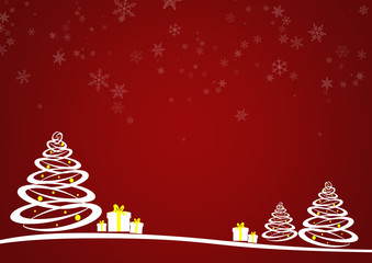 Christmas tree with gifts and falling snowflakes on red background - fototapety na wymiar