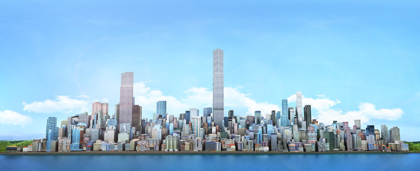 City skyline. View from sea to modern high-rise buildings. 3d il