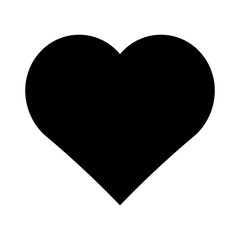 Black heart vector icon.