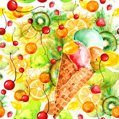 Seamless vintage watercolor pattern. Kiwi fruit, berries, ice cream, popsicles, painted in watercolor. Use for packaging, design, postcards, backgrounds